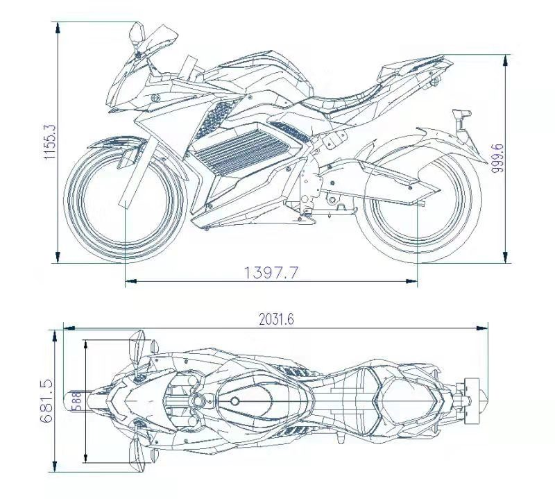 M2 New color 72V 5000W Max 100kmh Electric Motorcycle